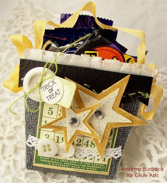 Trick or Treat goodies made with #GlueArts adhesives, #Core-dinations papers and designed by @Andrea Budjack.