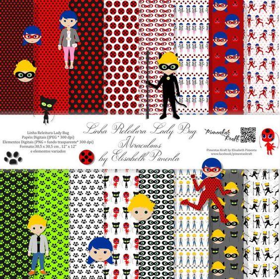 Kit Digital Releitura - Lady Bug - Miraculous by Elisabeth Pimenta