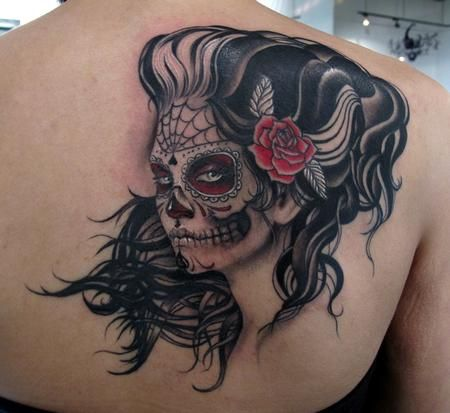 day of the dead sugar skull lady tattoo by Stefano of New York City, NY