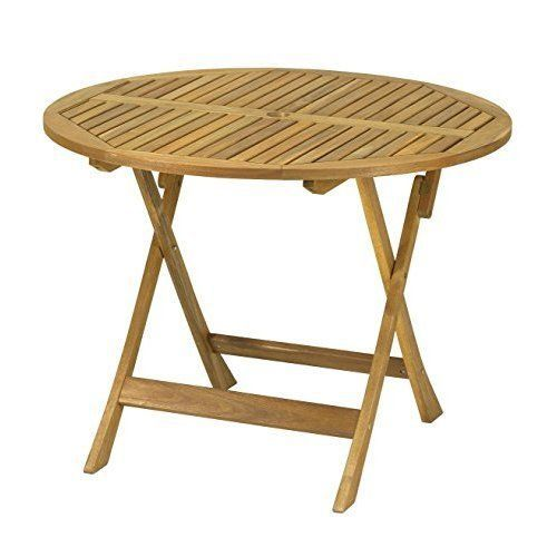 Garden Table Wooden Round Folding Parasol Hole Natural Solid Patio Furniture Wooden Outdoor Furniture Patio Furniture For Sale Garden Table
