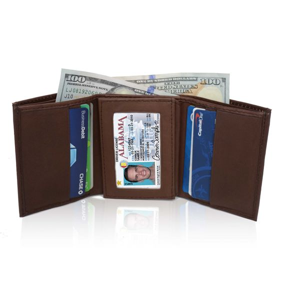 AFONiE Genuine Soft Leather Tri-fold Wallet For Men - Brown