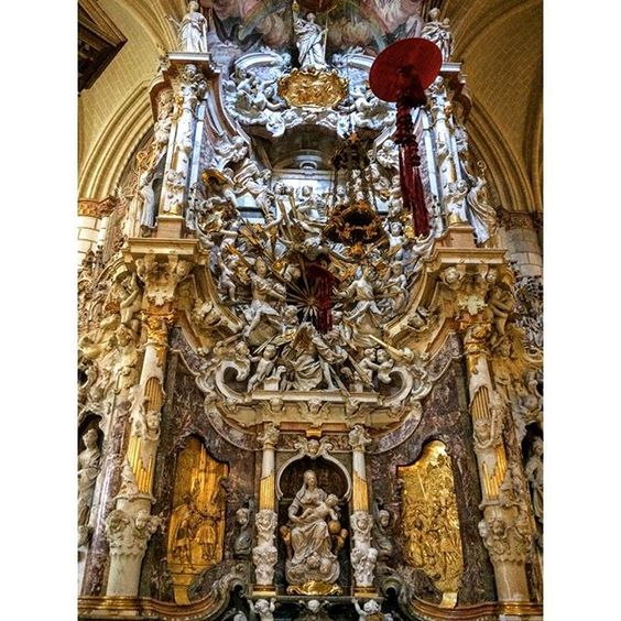 An over the top Baroque altarpiece. El Transparente brings light deep into the Cathedral of Toledo. #moreismore #designtravel #architecture #cathedral by scadhkinteriors