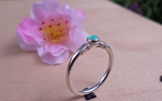 Handmade Ring with Opal and sterling silver TDR57 by TommyDark, $24.00