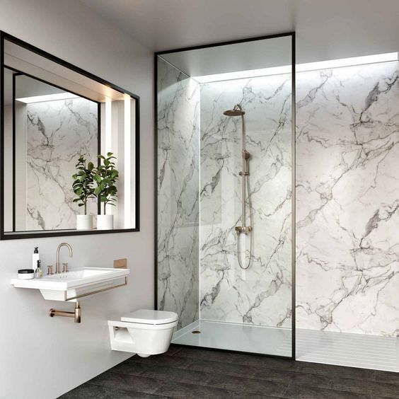 Marble Look Bathroom Ideas Examples With Tiles Fish Level Washbasin Bath Marble White In 2020 Bathroom Wall Panels Waterproof Bathroom Wall Panels Shower Panels