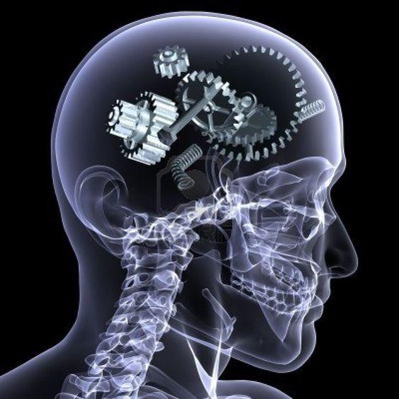X-ray des Skelettes männlich mit einer Reihe von Getriebe und andere Teile in seinem Kopf kommen auseinander. Auf einem schwarzen Hintergrund isoliert  Stockfoto