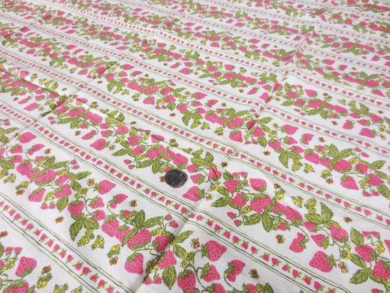 Strawberry Stripe Fabric Pink Green Beige Cotton by GreenBeeKC, $4.99