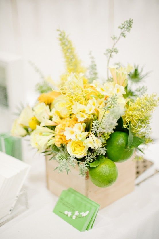 REVEL: Lime + Yellow Centerpiece Inspiration