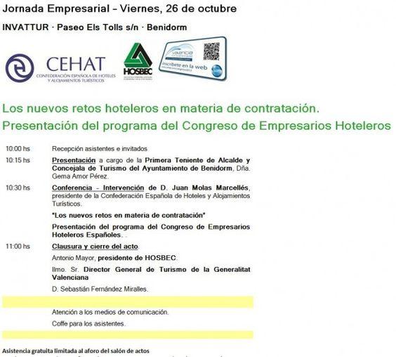 Los nuevos retos hoteleros en materia de contratación. Presentación del programa del Congreso de Empresarios Hoteleros. 26/10/2012