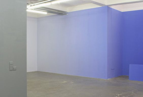 This wall has gradation because it alternates from a dark blue to a light blue. Almost being white.: