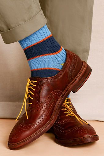 Add some flare with Men's Rugby Striped Socks and bright laces. #landsendcanvas