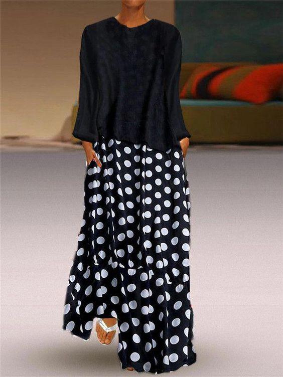 Fashion Polka Dot Round Neck Long Sleeve Dresses – streetvova #FashionJewelry