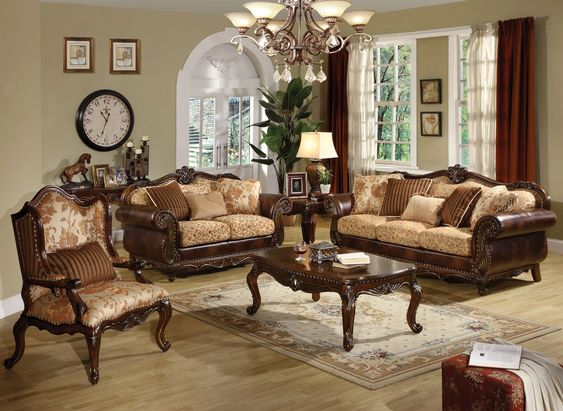 Blue & Green With Brown Leather Furniture   Sofa Sets Living Room