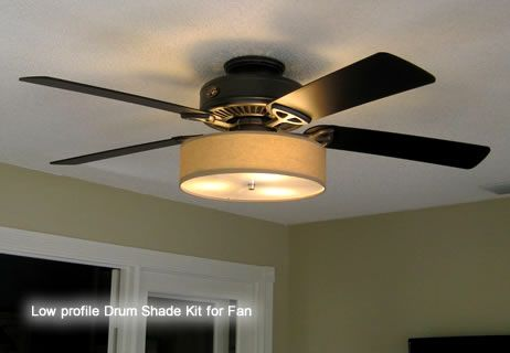 Low Profile Linen Drum Shade Kit for Ceiling Fan