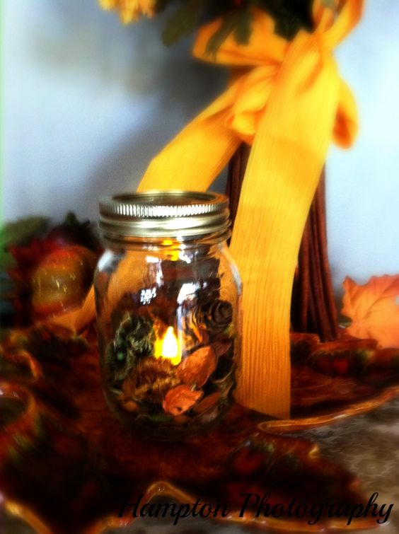 #Fall #Thanksgiving #centerpiece #potpourri #Dollar Store #LED tea lights #thanksgiving #decoration #mason jar