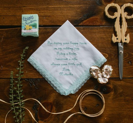 Mint Lace Happy Hanky with custom embroidered message exclusively at TheHandkerchiefShop.com: