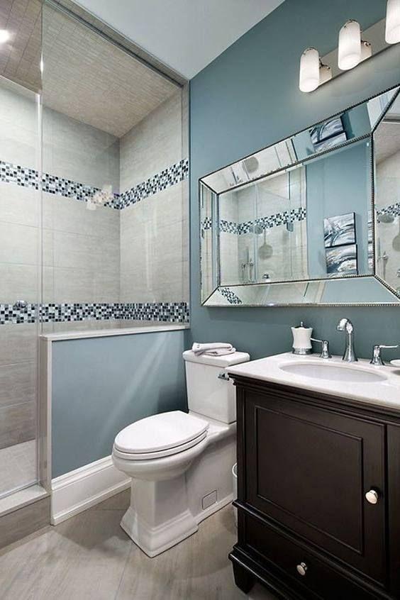 Bathrooms Painted Grey Blue In 2020 Guest Bathroom Remodel Bathroom Interior Design Bathroom Interior
