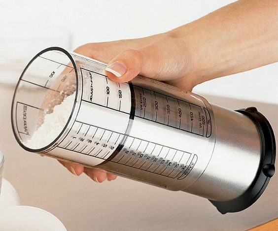 The adjustable measuring cup is a clever little baking tool to save time and space, allowing you to throw out the endless assortment of various measuring cups and use just one adjustable measuring cup for all your cooking needs.