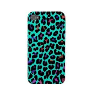 Turquoise Pop Leopard Print Iphone 4 Case-mate Cases from Zazzle.com