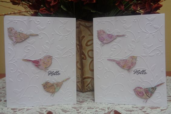 """Birds and swirls """"Hello"""" card by LuvinItCREATIONS on Etsy"""