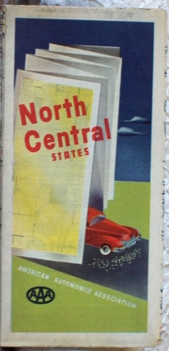 http://ajunkeeshoppe.blogspot.com/  ROAD MAP 1948 Triple A Routes Of 13 States North Central United States AAA