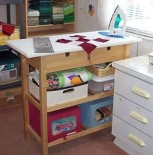 Ikea kitchen island converted into an ironing station on for Kitchen quilting ideas