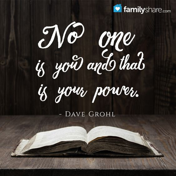 No one is you and that is your power. - Dave Grohl: