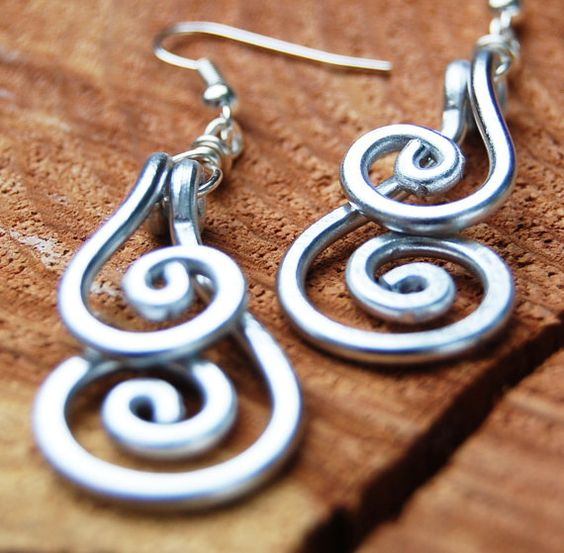 Silver. Aluminum. Double. Spiral. by Karismabykarajewelry on Etsy