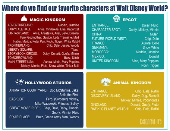 Headed to Walt Disney World? Take along this free printable to find your favorite characters in each of the four parks!