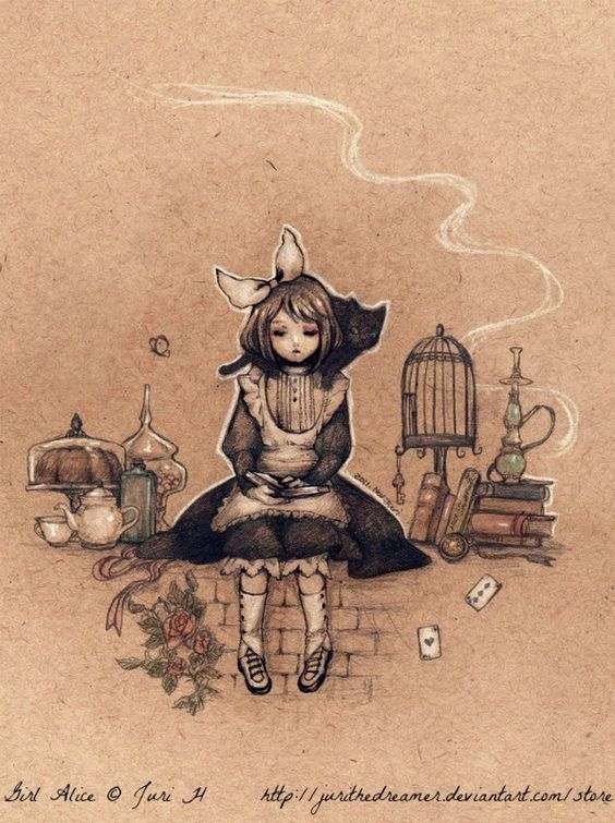 Girl Alice  © Juri H (Artist, New York, NY, USA) aka jurithedreamer via deviantart. Prints available at link. Alice in Wonderland, Cake,  Books.  [Do not remove caption. The law requires that you credit the artist. List/Link directly to artist's website. Artists need to eat too!]]   PINTEREST on COPYRIGHT:  http://pinterest.com/pin/86975836526856889/ The Golden Rule: http://pinterest.com/pin/86975836525355452/