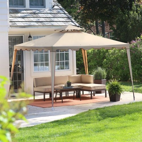 10 Ft X 10 Ft Steel Frame Gazebo Weather Resistant Vent Top Canopy Canopy Outdoor Patio Canopy Backyard Gazebo