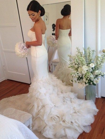 Kim kardashian wedding and fishtail on pinterest for White fishtail wedding dress