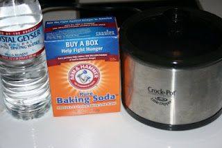 Air Freshner/Odor Neutralizer    Pour water into the crockpot. Add baking soda. Mix. Plug it in and turn to low. Keep the lid off.    Let the baking soda do the job of soaking up unpleasant odors.    If you would prefer to use the crockpot as an air freshener, fill with water, and add:    --drops of essential oil  --potpourri scent  --2 tsps of vanilla or other desired extract  --ground cinnamon, and cloves  --a cinnamon stick  --slices of lemon