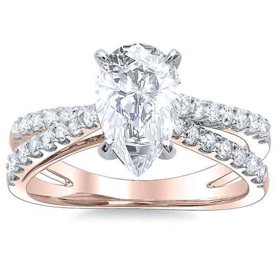 Split Shank Pave Natural Diamond Engagement Ring