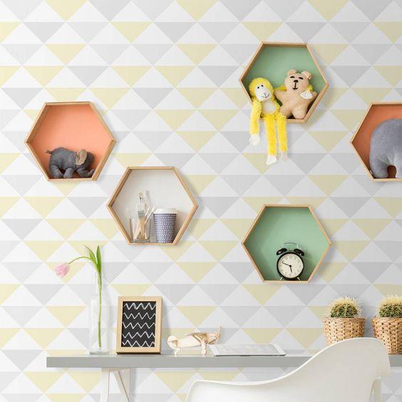 Papel de parede coleção geometria amarelo, branco e cinza - PA7800