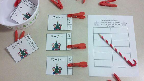 Christmas Kids Subtraction Math Centers (Minuends to 10)  $  http://www.teacherspayteachers.com/Product/Christmas-Kids-Subtraction-Math-Centers-Minuends-to-10-997334