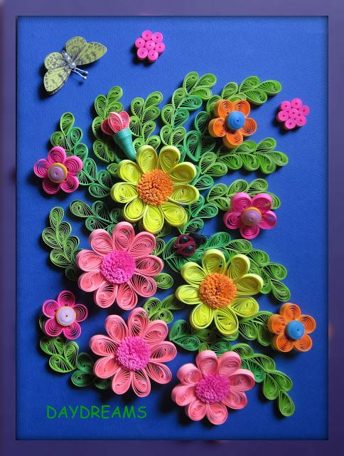 DAYDREAMS: Quilled flowers framed work.