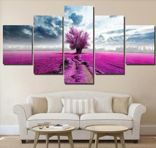 Lilac Fields 5 Panel Canvas Art Set Home Decor In 2020 Living Room Poster Beautiful Wall Art Wall Art Canvas Painting