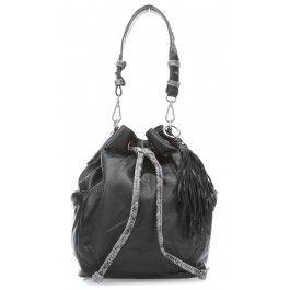 wardow.com - #bag #trend #blackandwhite #Liebeskind Snake Loreley Beuteltasche genarbtes Rindsleder schwarz