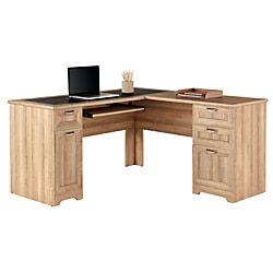 Realspace Magellan 59 W L Shaped Desk Blonde Ash Item 4792691