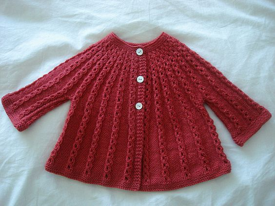 Red Baby Cardigan by Little Purl of the Orient.