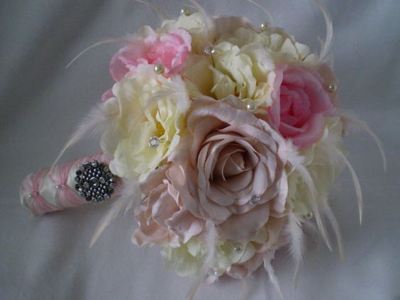 ROSE GARDEN   Wedding Bouquet With Feather Accents by Ardesign, $120.00