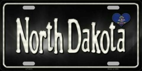 North Dakota Love Novelty Metal License Plate