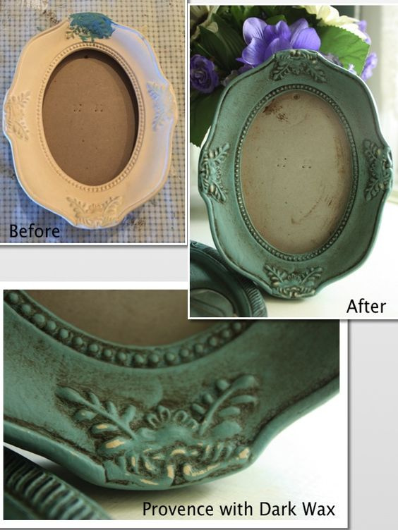 Shabby Chic photo frame painted with Provence Annie Sloan Chalk Paint and finished with a layer of Dark Wax