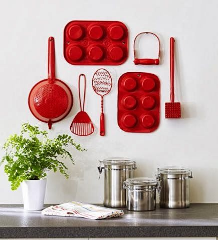 spray paint old kitchen utensils and hang on wall for a cute display!!: