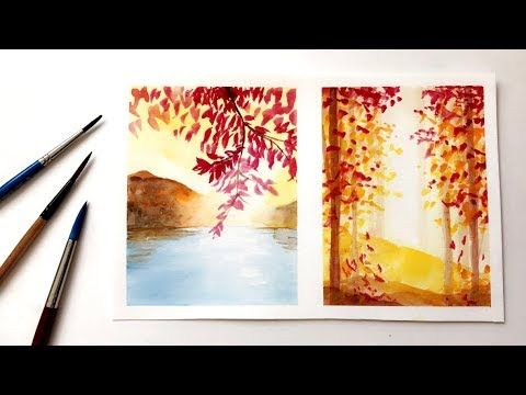 How To Paint Simple Fall Autumn Inspired Watercolor Ideas Watercolor Painting Youtube Watercolor Paintings Easy Watercolor Paintings Watercolor Art Diy
