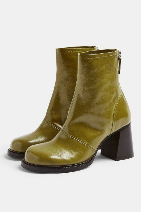 Womens Milo Green Patent Leather Chunky Scoop Toe Boots Green Boots Cute Shoes Leather Boots