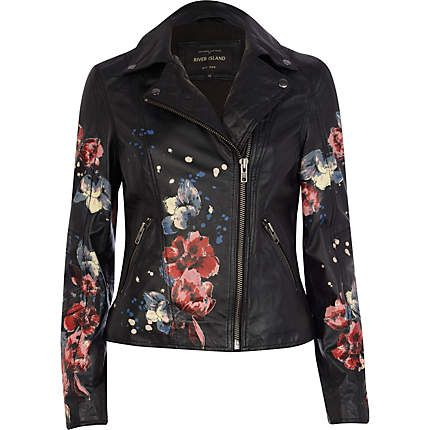 Black leather floral print biker jacket - leather / leather look jackets - coats / jackets - women