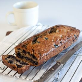 A moist and long-lasting gluten-free, low FODMAP banana and blueberry loaf.