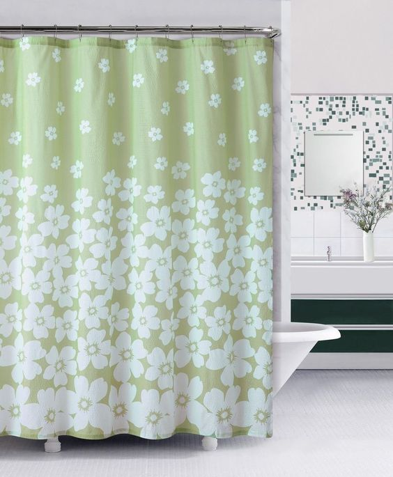embossed fabric shower curtain green and white floral design floral curtains and green. Black Bedroom Furniture Sets. Home Design Ideas