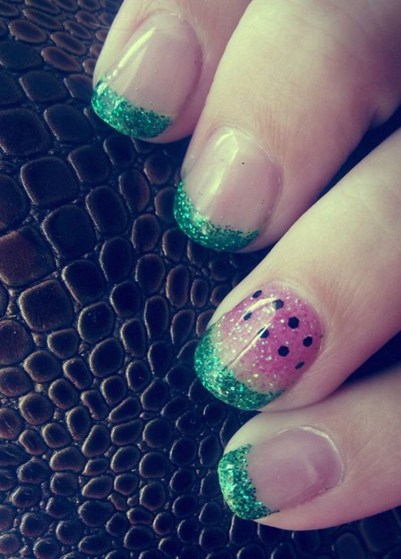 Watermelon gel nail art design! Love these nails :) they are A-M-A-Z-I-N-G!